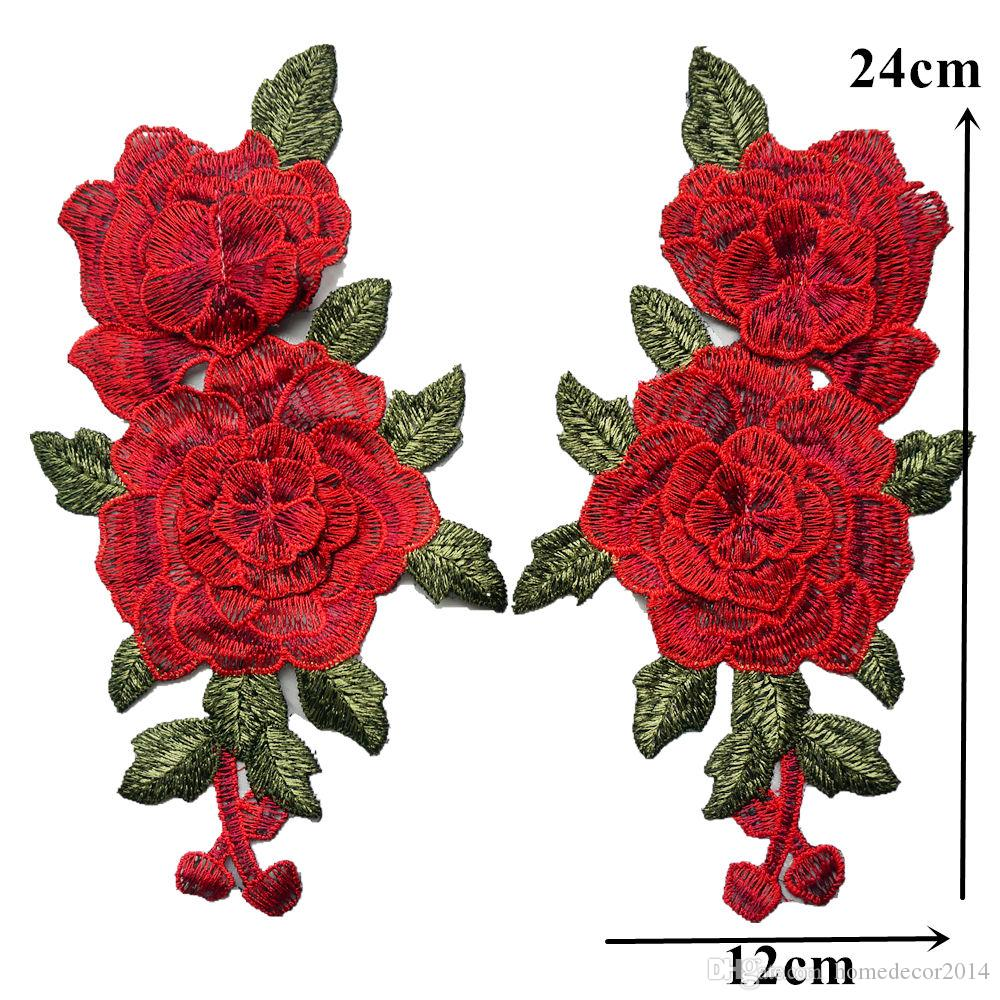 Red 3D Flowers Leaves Embroidered Fabric Appliques Mesh Trimmings Sew On Patches For Wedding Bride Dress DIY Decoration
