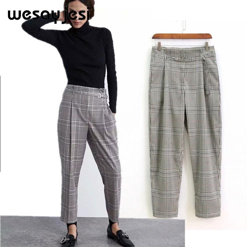 30fc8c2251c Compre 2019 Moda Pantalones Mujer Inglaterra A Cuadros Harem Traje  Pantalones Harajuku Pantalon Femme Cintura Alta Con Cinturón Pantalones  Mujeres Más ...