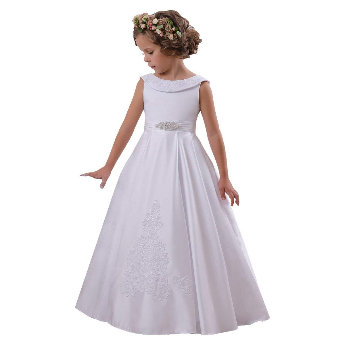 507dfae6c63 Elegant O Neck Flower Girl Dress Kids Dress Sleeveless A Line Stain Party  Wedding Dresses For Girls 2 14 Year Old Beautiful Flower Girl Dress  Bridesmaid ...