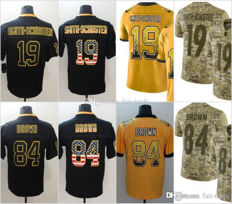 19 JuJu Smith-Schuster Pittsburgh Jerseys 84 Antonio Brown Steelers 2018  USA Flag Lights out Black Rush Drift Camo Salute to Service Limited Jersey  Online ... 17281aebc