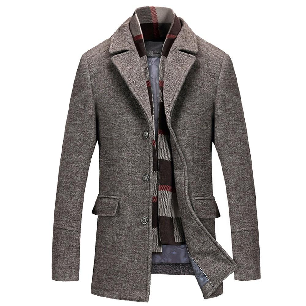 NEW Men winter coat men Men's Casual Wool Trench Coat Fashion Business Long Thicken Slim Overcoat Jacket parka clothes long