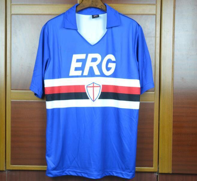 90 91 Sampdoria Mancini Retro Rugby Jersey Short Sleeve Vintage 1990 ... 15b608c7f