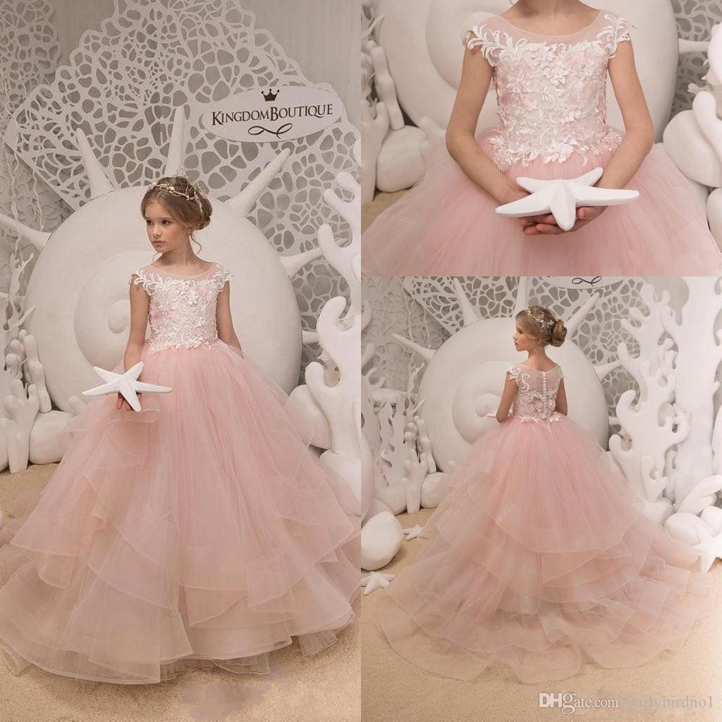 7804682eef1 Acheter 2019 Blanc Jewel Décolleté Belle Filles Robe Pour Mariage Perlée  Fleur Robes De Fille De Plancher Longueur Belle Princesse Filles Pageant  Parti Robe ...
