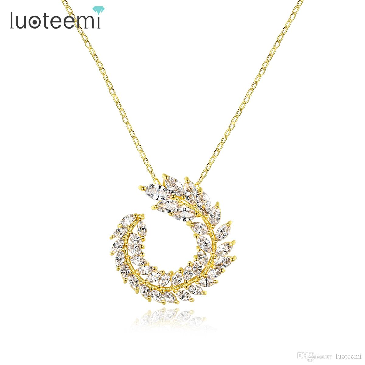 Wholesale LUOTEEMI New Design Leaf Necklace For Women Wedding Party Paved  CZ Exquisite Silver Gold Fashion Jewelry Korean Christmas Gift Silver  Pendant ... 967021a39d7b