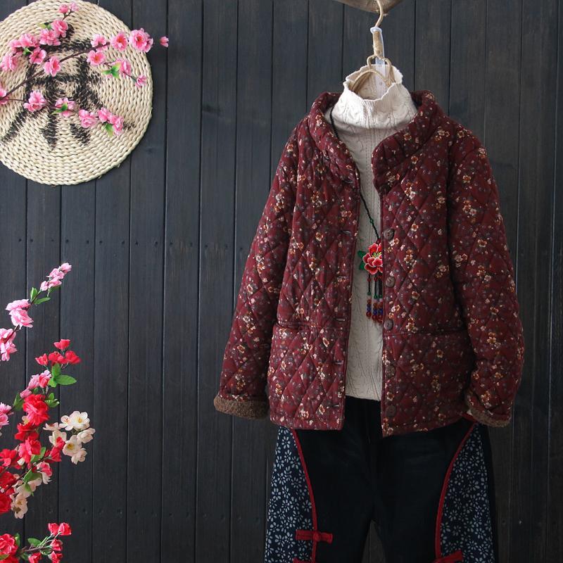 e43f149110f Flowers Print Winter Plus Velvet Thickening Stand Collar Cotton Coat Vintage  Female Ladies Jackets Black Jacket From Ferdinand07