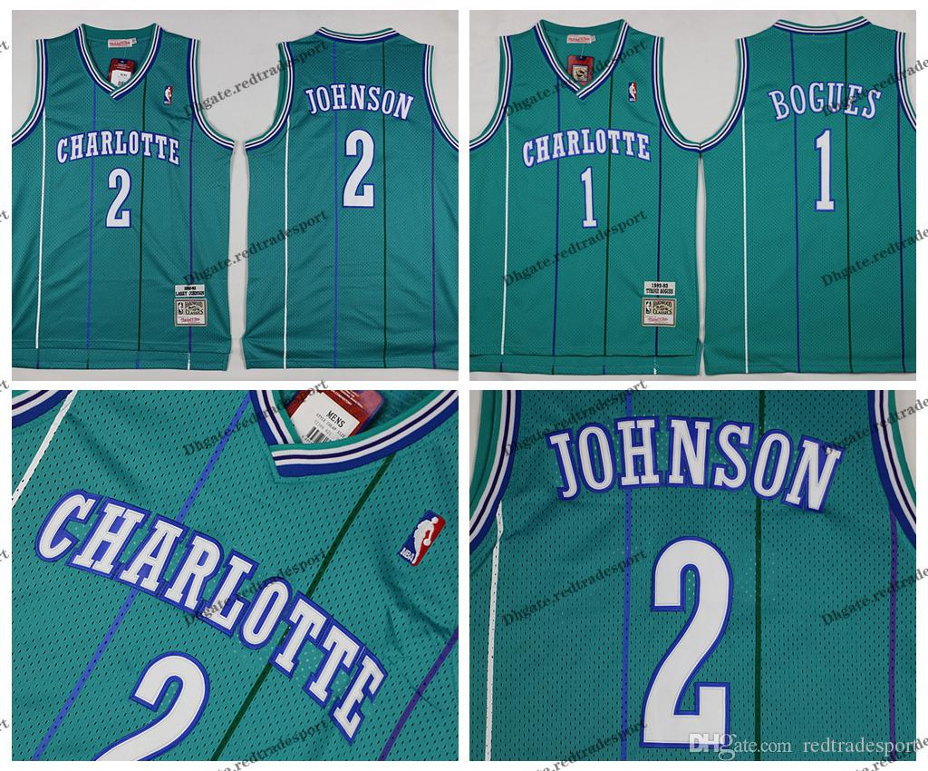 cdf9c3f3f26 2019 Vintage Charlotte Muggsy Bogues Hornets Basketball Jersey  1 Mens  Tyrone Muggsy Bogues 2 Grandma Ma Larry Johnson Stitched Shirts From  Redtradesport