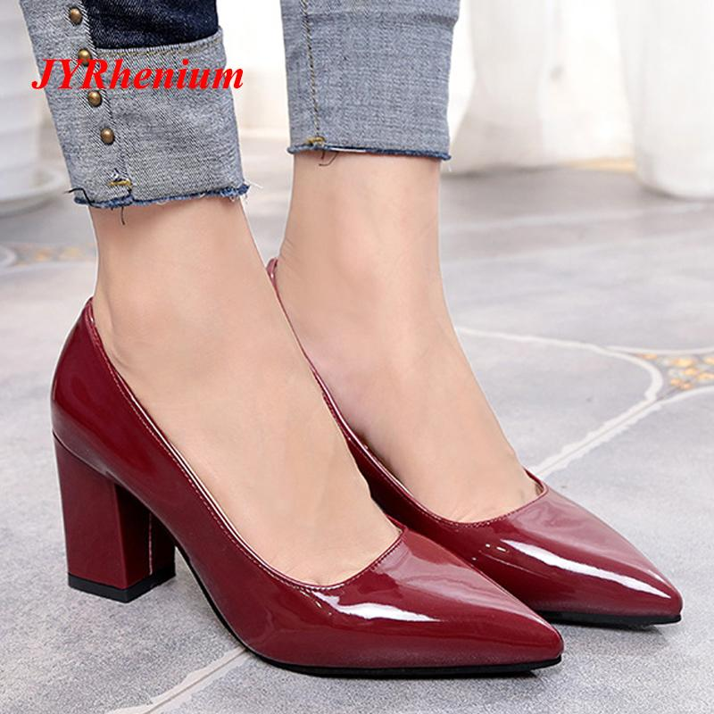 d43f4732092 2019 Dress 2018 New Plus Size 33 43 Thick High Heels Shoes Women Pumps  Pointed Toe Work Shoes Slip On High Heels Footwear Black White Red Slip On  Shoes Mens ...