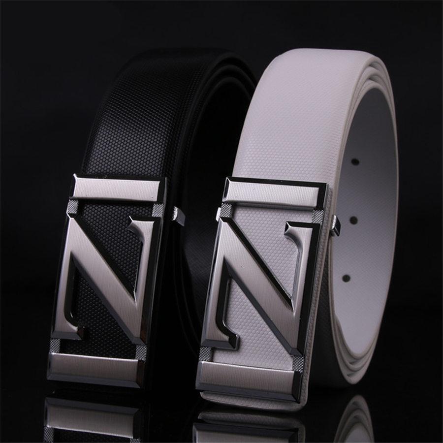 00f3e0f8 Diseñador Cinturones casuales Cinturón de cuero de moda Cinturones de cuero  negro para hombre Para mujer Letra Z Hebilla Cinturones casuales ...