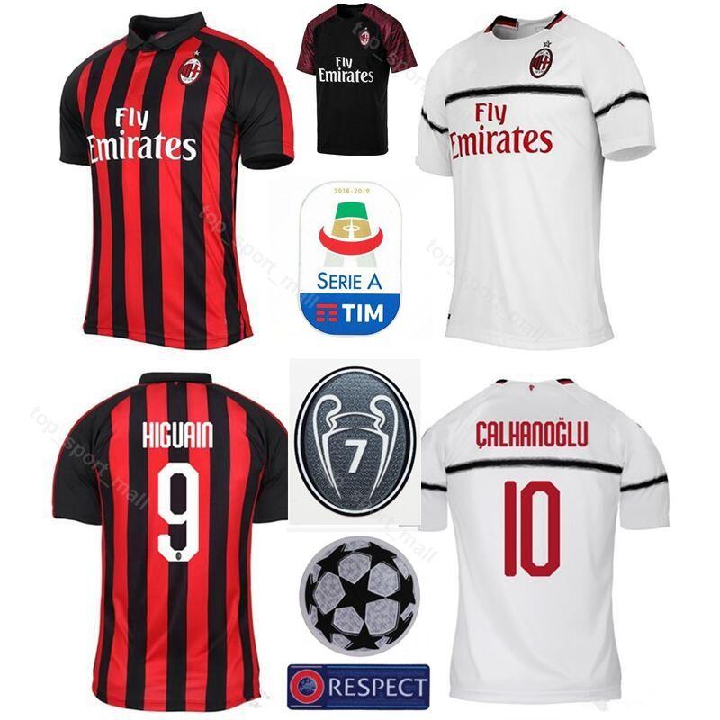 2019 2018 2019 AC Milan 7 Champions Soccer 9 Gonzalo Higuain Jersey Men  Serie A 10 Hakan Calhanoglu 7 Nikola Kalinic Football Shirt Kits From  Top sport mall ... f1cf7d0fb
