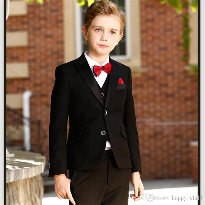 Handsome Black Boys Formal OccasionTuxedos Peak Lapel Two Button Kids Wedding Tuxedos Child Suit Holiday clothes(Jacket+Pants+Tie+Vest) 59