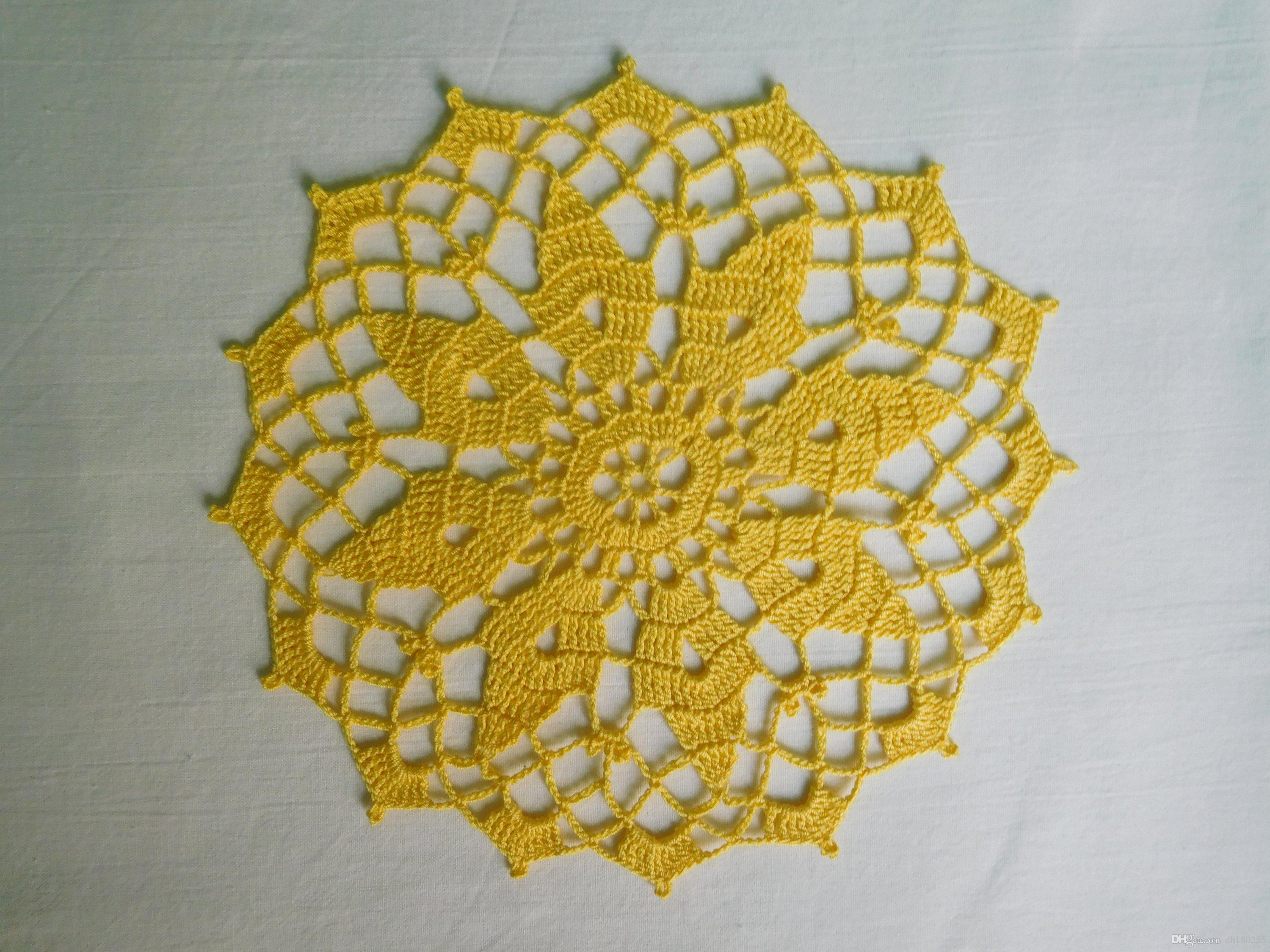 2019 Round Yellow Crochet Doily 20 Cm Or 787 Round Tablecloth