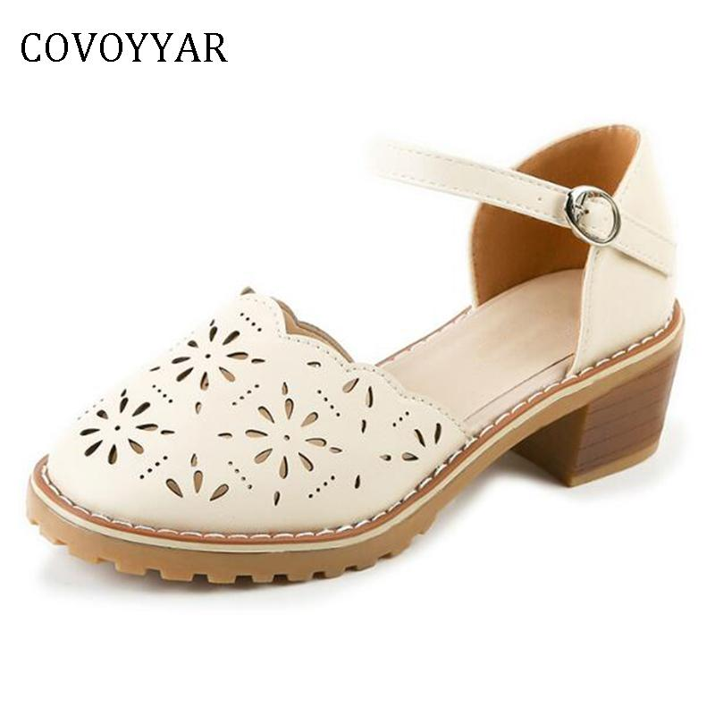 b36c0fb5499 Designer Dress Shoes COVOYYAR 2019 Cut Out Block Heel Women Floral Oxford  Woman Ankle Buckle Lolita Mary Jane Summer Lady Pumps WHH122 Loafers For  Women ...