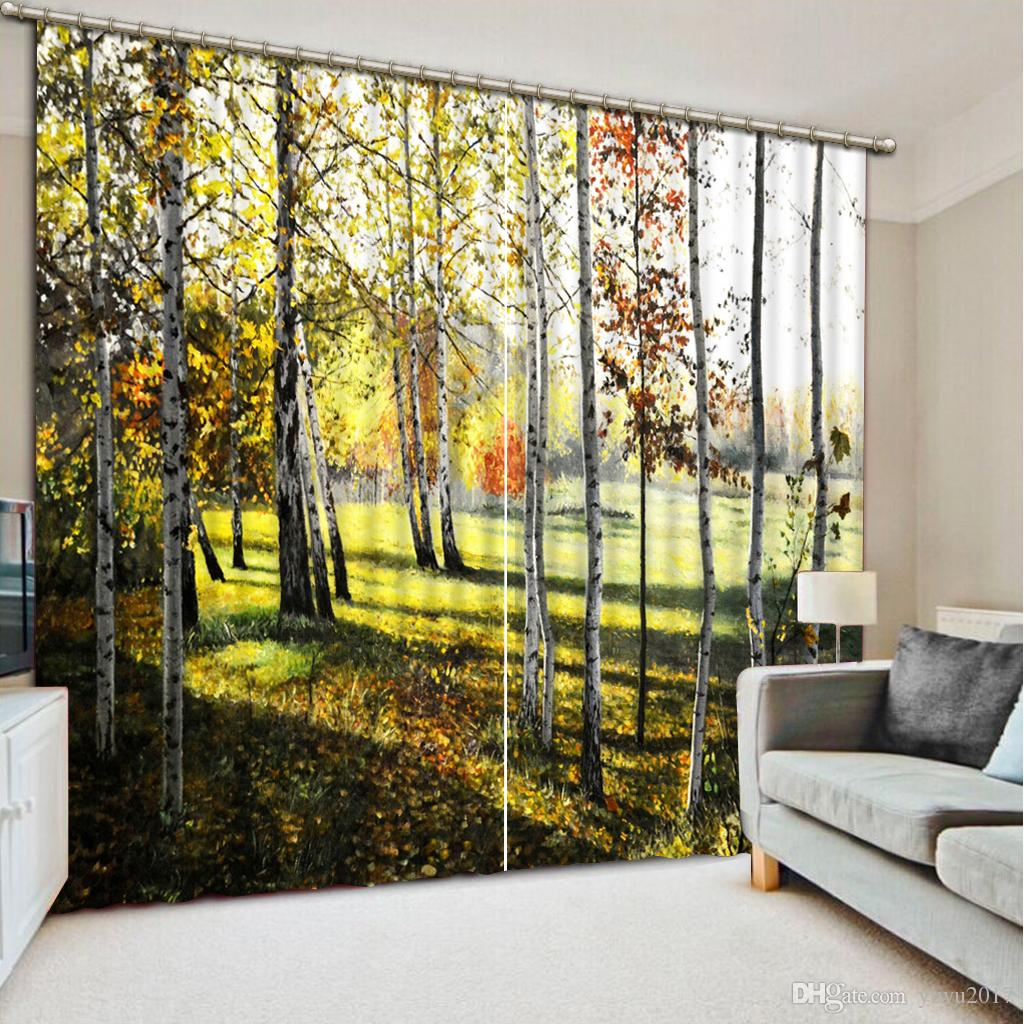 Creative 3D Curtain Beautiful Primeval forest Painting Living Room Bedroom Decoration Curtains