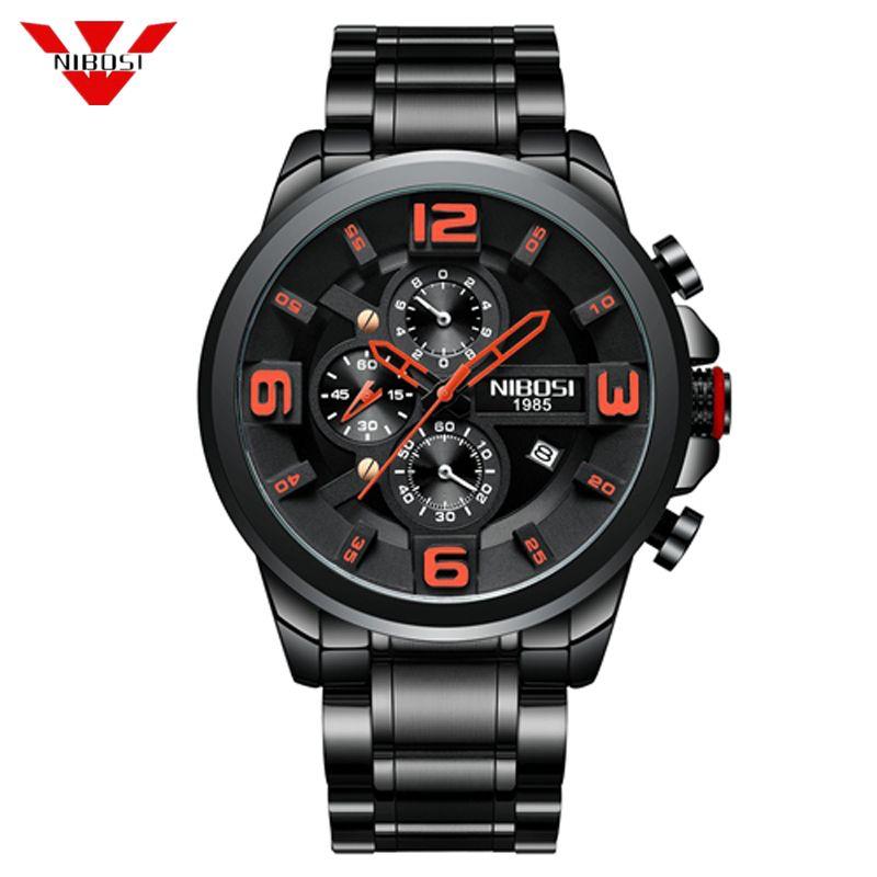 Compre NIBOSI Nuevos Relojes Para Hombres Grandes Y Negros De Primeras  Marcas De Lujo Deportivos De Cuarzo Relojes De Pulsera De Cuarzo Reloj  Deportivo ... 665606f0503e