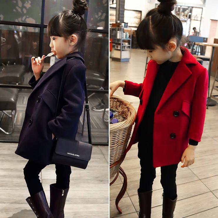 4a41d3d83 2019 Spring And Autumn Double Breasted Slim Girls Woolen Overcoat ...