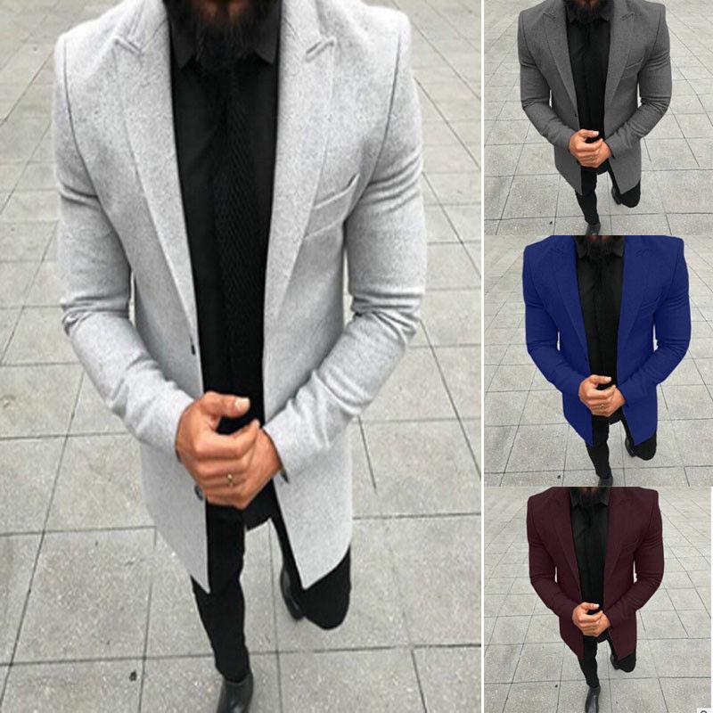 Fashion Men Smart Casual Slim Fit Autumn Winter Coat Solid Buttons