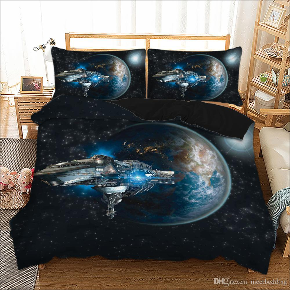 Spaceship modern Bedding Set 2/3pcs 3d print Single Double King Size Quilt Cover Set gift for boys adult with Space star