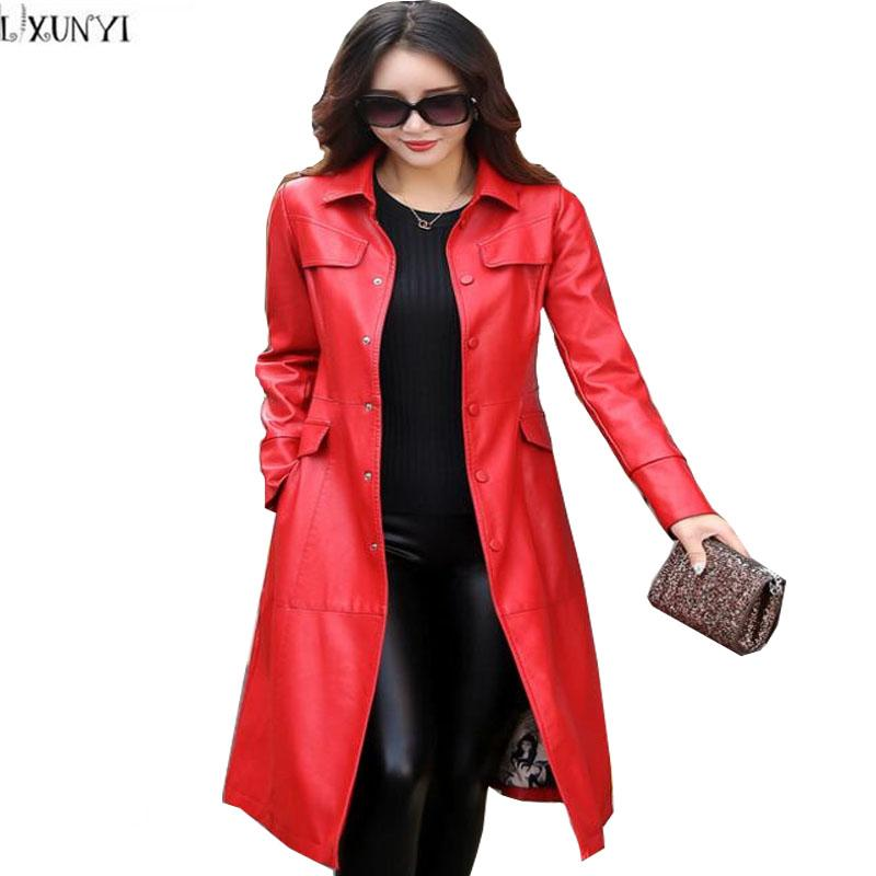 a5e4ca30ce7 2019 LXUNYI Korean Fashion Slim Long Leather Coat Women Trench Coats With  Belt Casual Plus Size Women S Leather Jacket 3XL 4XL 5XL From Synthetic