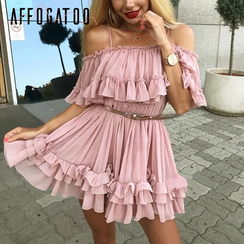 c014bb695f6 2019 Affogatoo Elegant Ruffle Off Shoulder Strap Summer Pink Dress Women  Casual Chiffon Pleated Blue Dress Loose Holiday Short Dress Q190415 From  Tai03