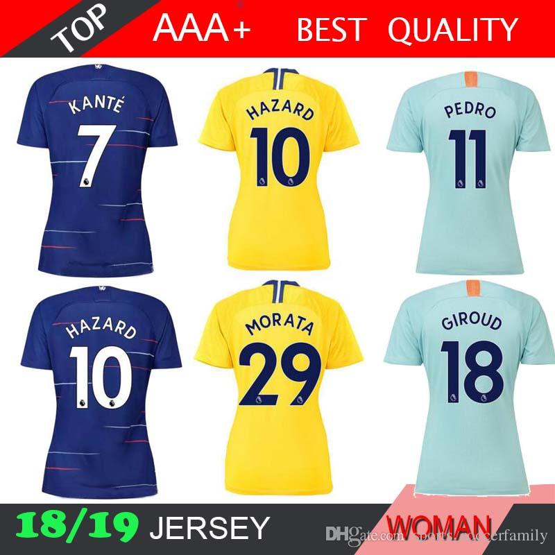 f22999f571d HAZARD DAVID LUIZ MORATA 2018 2019 Women Soccer Jersey 18 19 RUDIGER ...