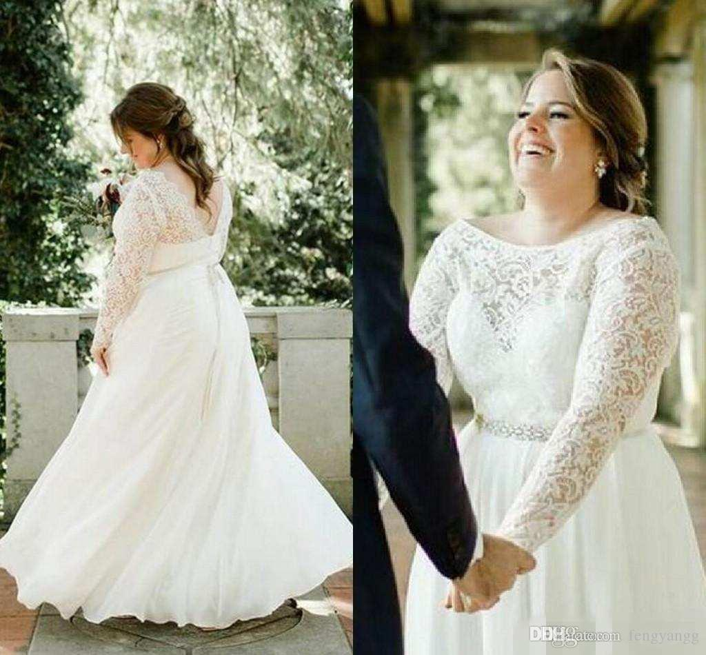 61a4b7ec631 Discount Plus Size Scoop Neckline Lace Appliques Wedding Dresses With Beads  Sash Sheer Long Sleeves Bridal Gowns Floor Length Wedding Gowns A Line  Wedding ...