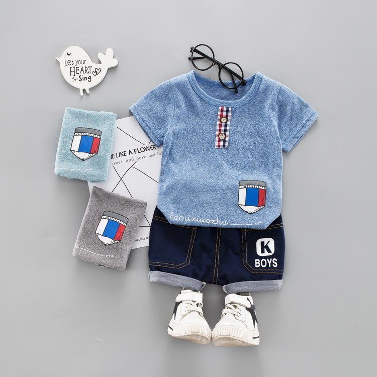 a292834c9 Verano bebé niño niña ropa infantil lápiz patrón camiseta Shorts 2 unids /  set niños ropa niños trajes niños moda chándales