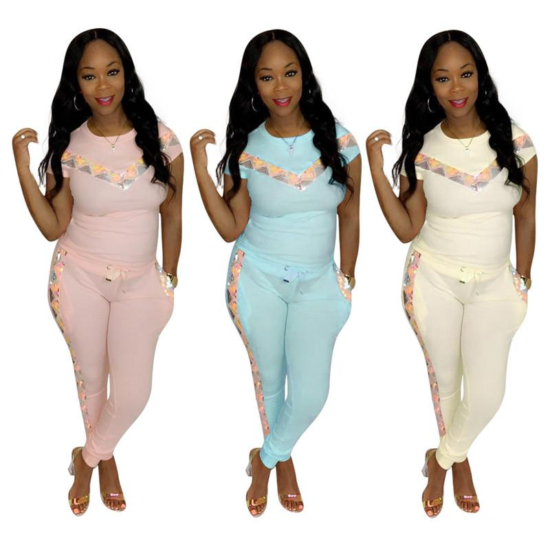 Sequins Panelled Woman Summer Slim Suit Women 2pcs Designer Confortable Clothing Sets Fashion Sport Casual Tracksuits
