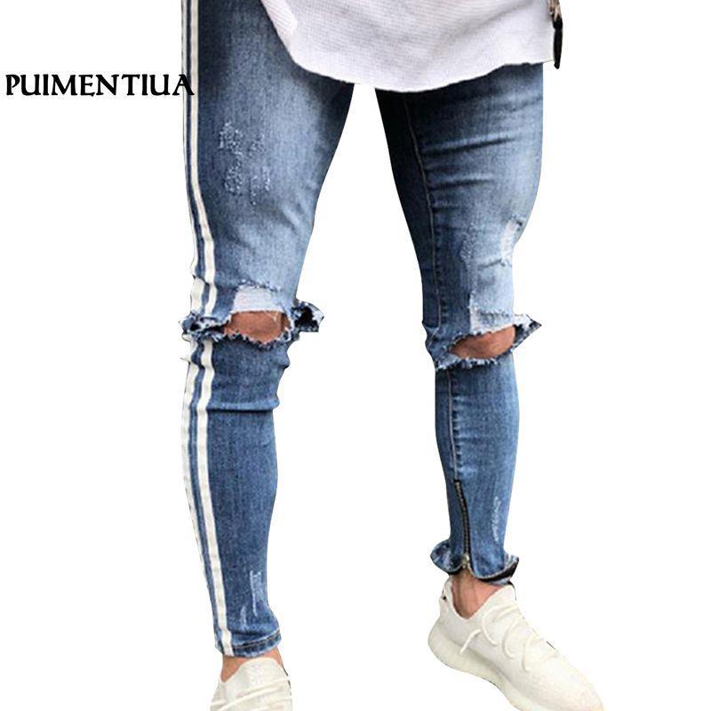 8f2dacd5db Compre Nuevos Pantalones Vaqueros De Lápiz Rasgado Pantalones Vaqueros  Agujeros Hombre De La Cremallera Raya Jeans Para Hombres Denim Flaco  Pantalones ...