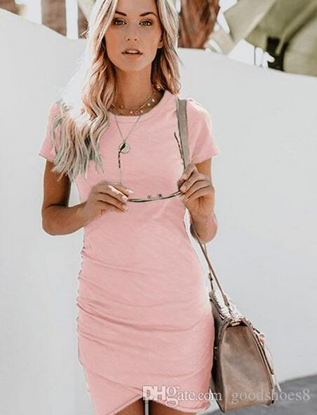 2019 casual dress tight women's summer dress tunic short-sleeved party white blue black red mini dress