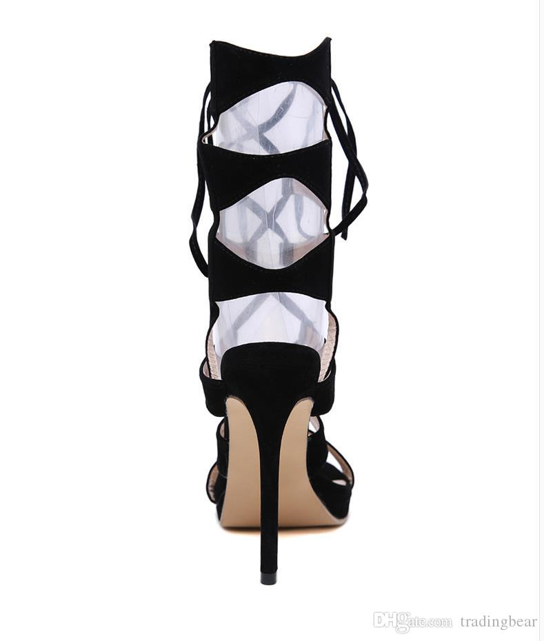 Sexy Black Lace Up Ankle Wrap Découpes Stiletto Heels Souliers formels Gladiator Sandales Taille 35 à 40
