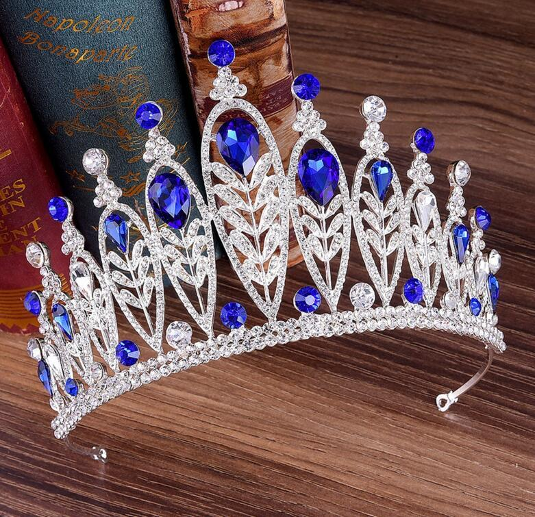 De gama alta corona nupcial de la boda hojas calientes europeas y americanas con incrustaciones de aleación rhinestone novia diadema corona de cumpleaños de la princesa envío gratis