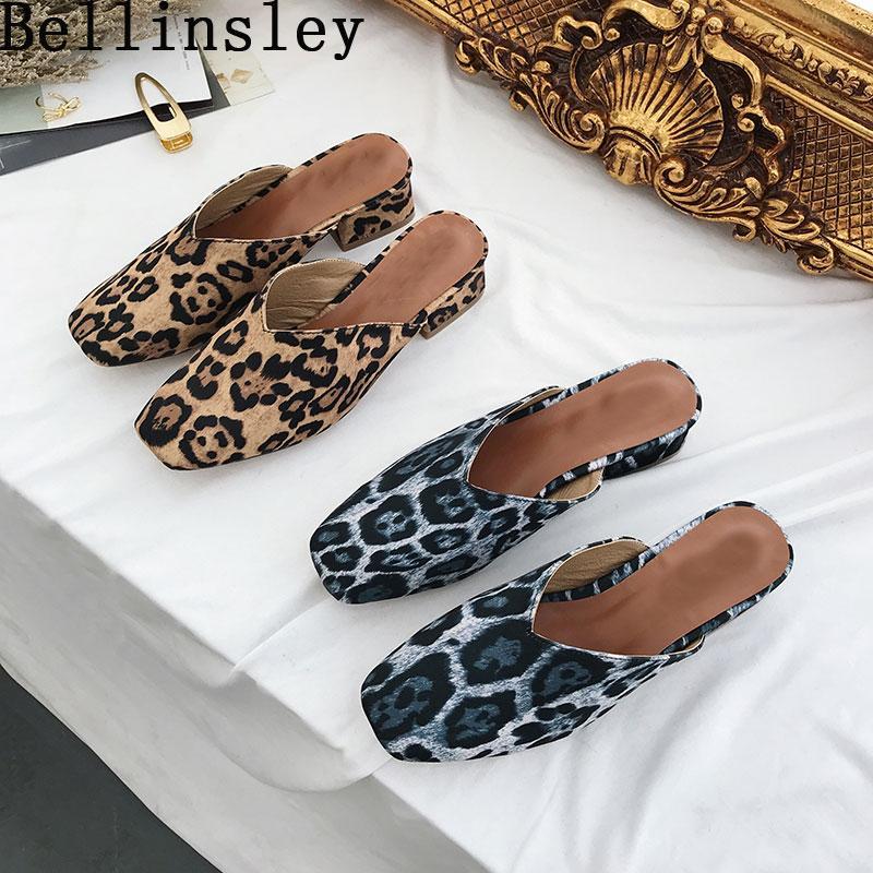 Aire Mujer Estrecha Zapatillas Mulas Leopardo Cuadrados Punta Al Tacones Mujeres Verano Libre Zapatos Bellinsley Diapositivas Sandalias XkiTPuOZ
