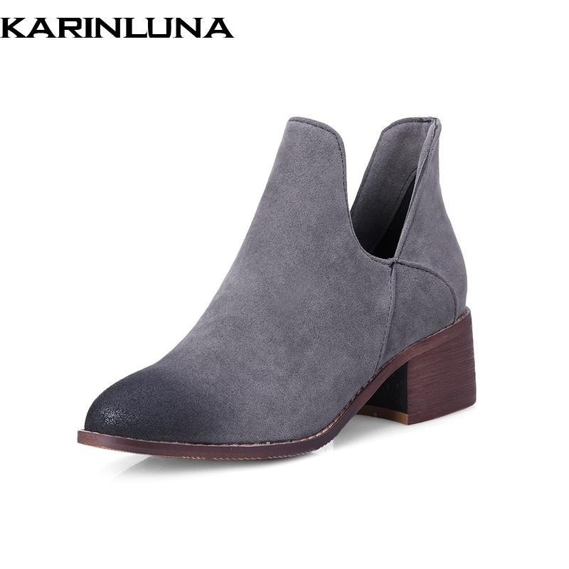 7a3e2245b94986 KARINLUNA NEW ARRIVALS LARGE SIZE 42 WOMEN ANKLE BOOTS SHOES SQUARE HEELS  AUTUMN WINTER WOMAN SHOES FEMALE CHELSEA BOOTS Brown Boots Winter Boots For  Women ...