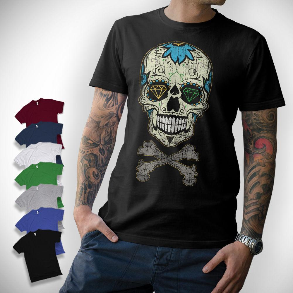 48f6f6aac6864 Sugar Skull T-Shirt - Skull Oldschool Rockabilly Vintage Mexican Diamond  Top Free Shipping T-shirt jacket croatia leather tshirt