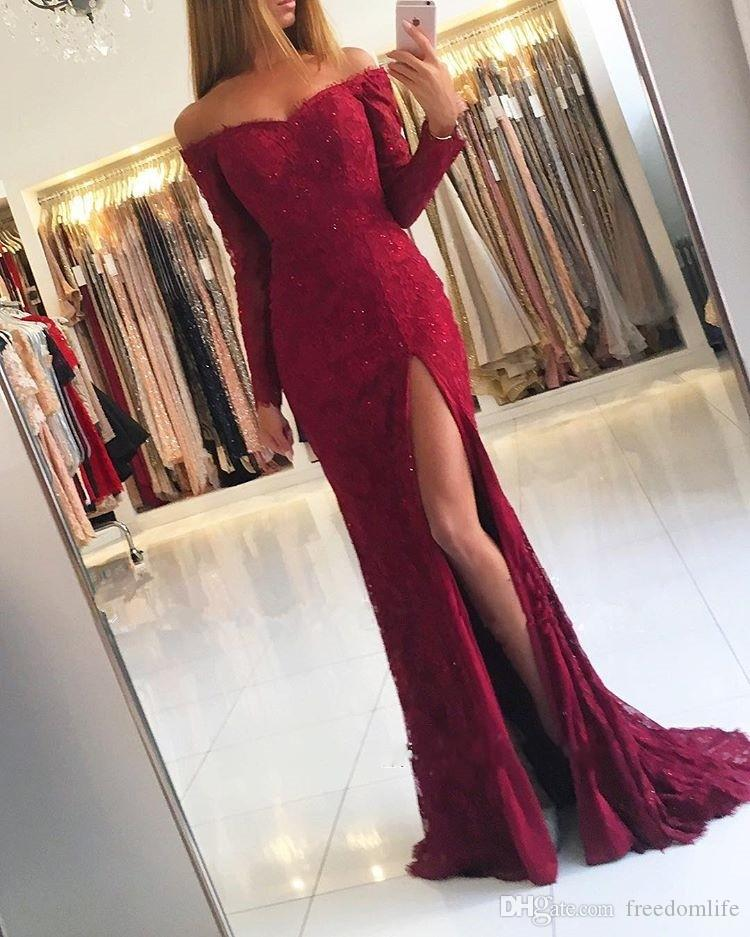 9f76e79d8dd9 Gorgeous Off The Shoulder Long Sleeves Prom Dresses Evening Wear Mermaid Lace  Appliques Sequin Dark Red Split Party Dress Cheap Short Prom Dresses Under  50 ...