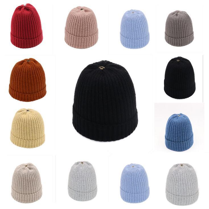 2c727616fe7 Fashion Knitting Cap Warm Wool Unisex Knitted Solid Color Beanies ...