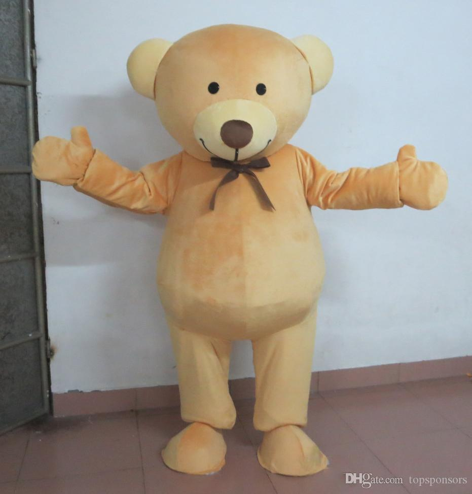 real picture light brown colour bear mascot costume with a superman suit for aldut to wear0