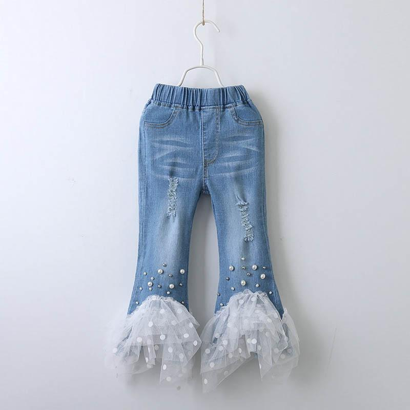 Fashion Spring 2019 new Denim Girls Jeans pearl lace Kids Jeans hole Leggings Jeans Girls Trouser kids designer clothes girls Clothes A2943