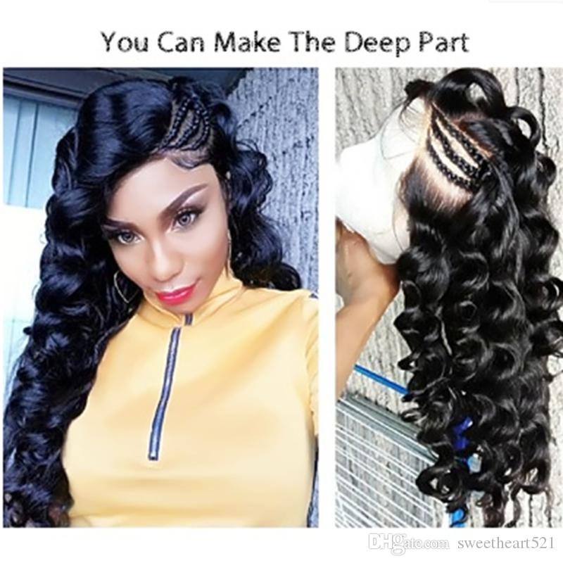 Sweetheart Natural Soft Black Curly Wavy Long Cheap Wigs with Baby Hair 180% Heat Resistant Glueless Synthetic Lace Front Wigs for Women