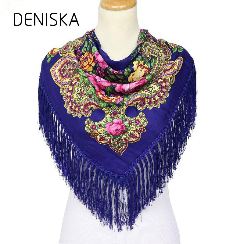 DANISKA Fashion Russian Women Large Tassel Square Scarf Shawl Brand Female Warm Cotton Poncho Summer Shadow Scarves