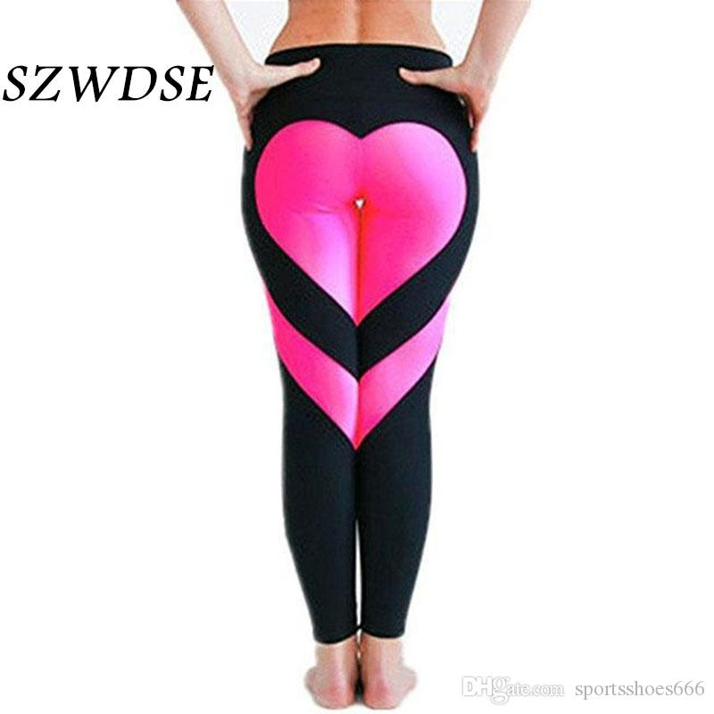 b99ccd2361f29 Women's Love Spliced Leggings Buttocks Sexy High Waist Stretch Pants Sports  Running Exercise Leggings Yoga Pants Plus Size XXXL #288837