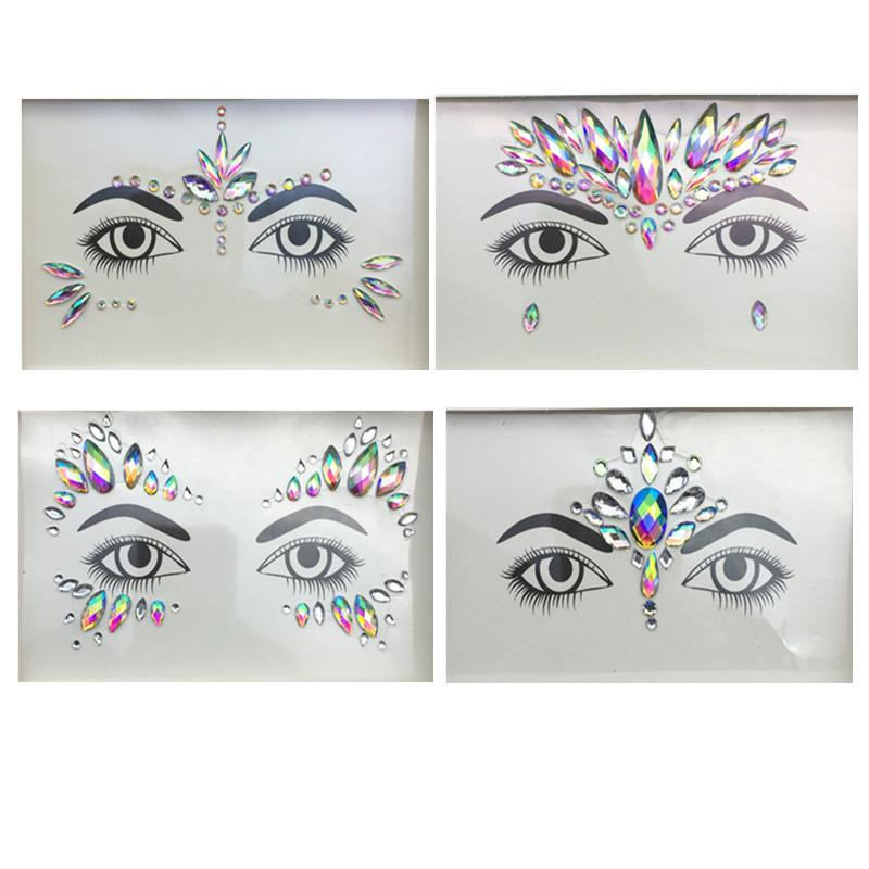 Temporary Tattoos Face And Eye Jewels Stickers 3D Sexy Crystal Jewel ... c212cccd103b