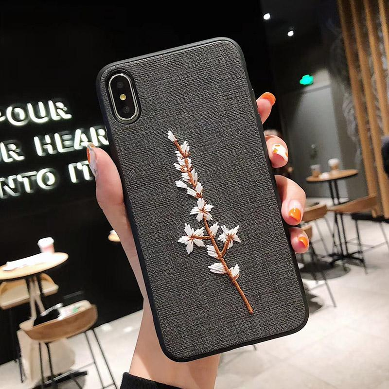 Embroidered mobile phone case for iphone 8plus x xs max creative plum samsung galaxy S8 S9 NOTE9 personality all-inclusive protective cover