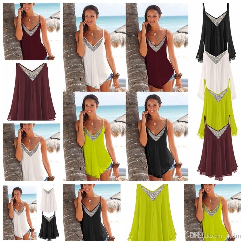 cbe7e6df1a 2019 European Style Pure Color Sexy Sling Sleeveless Backlit V Neck Chiffon  Vest White, Black, Pink Green Support Mixed Batch From Cydm, $14.85    DHgate.Com