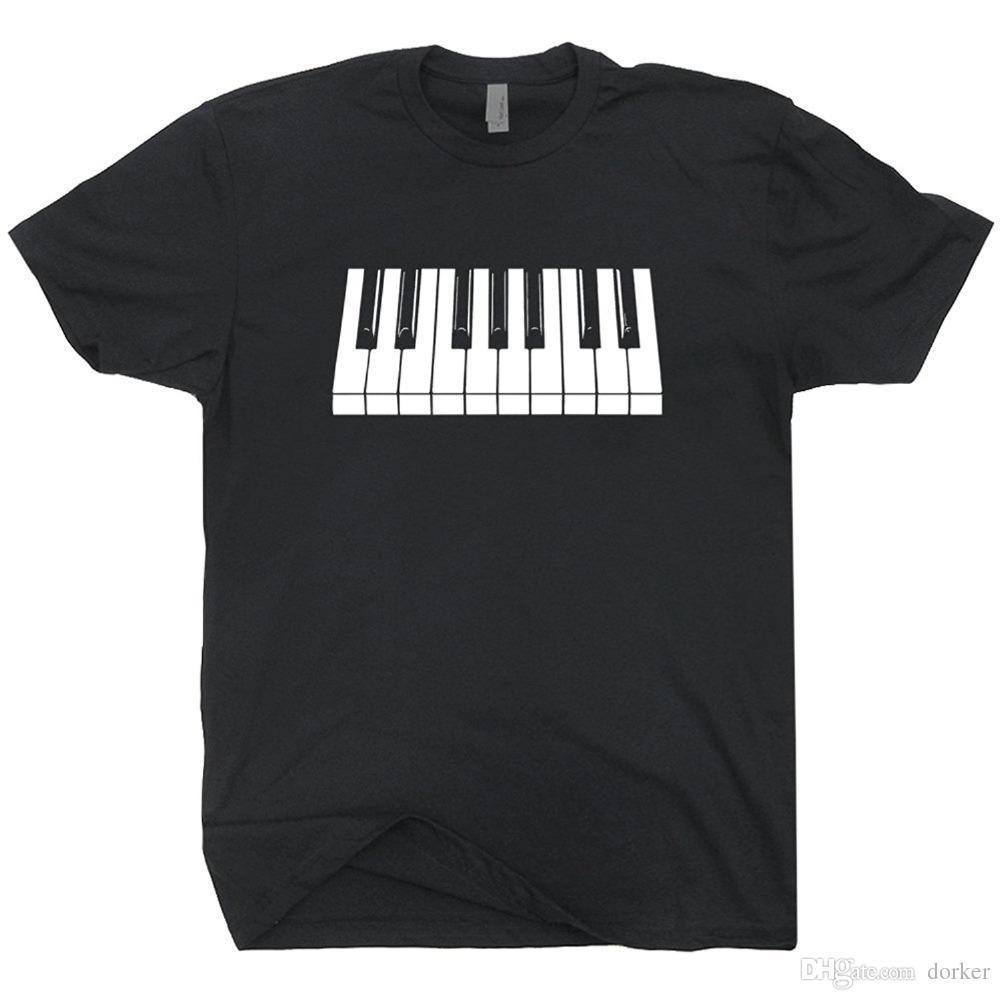 2018 Piano Keys T Shirt Keyboard White And Black Keys Cool Rock