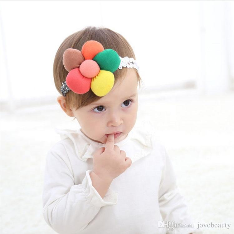 lovely beautiful baby head band European American popular soft fabric baby girl sun flower headband jewelry hair accessories hairband