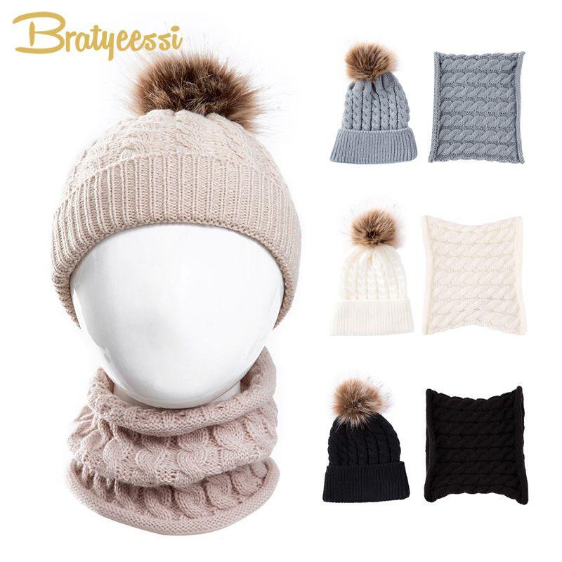 Compre Pompom Fur Baby Hat Bufanda Conjunto De Punto Beanie Baby Warm Snow Cap  Para Boy Girl Con Anillo Bufanda Niños Sombreros De Invierno A  35.39 Del  ... fd960f29eb0