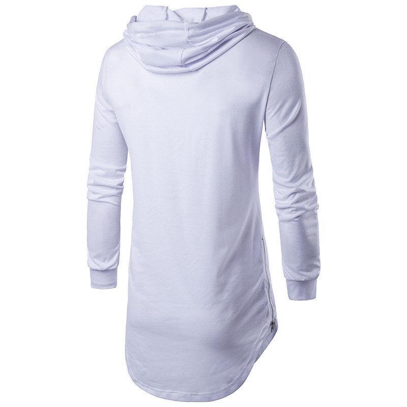 Cotton Lycra Moda Uomo camicia a maniche lunghe con cappuccio da uomo Slim Fit i solidi Shirt Top Size uomini di L-XXL