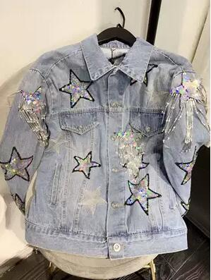 Party queen heavy industry sequins star embroidery tassel adornment foreign gas network celebrity light blue cowboy coat free shipping