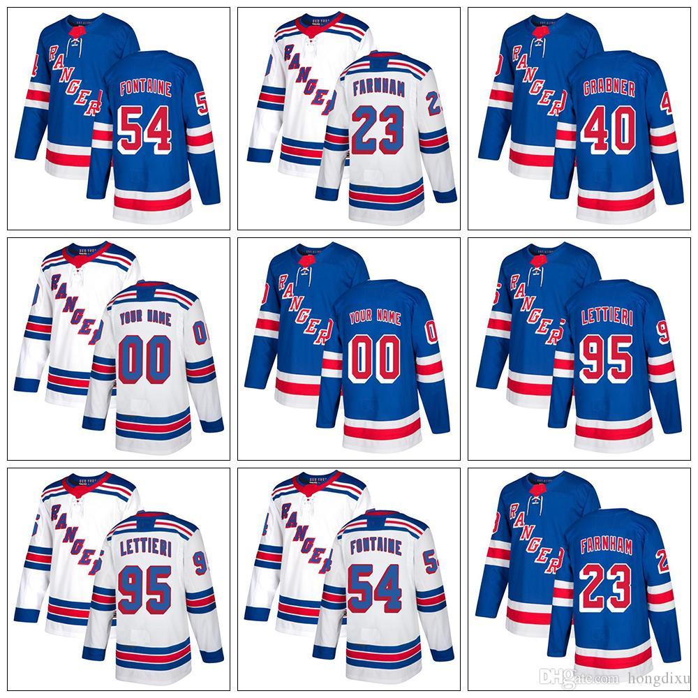 3eea1c5be Custom Mens Womens Kids New York Rangers 40 Grabner 54 Fontaine 23 Bobby  Farnham 95 Lettieri Cheap Blue White Ice Hockey Jerseys Hockey Jersey Cheap  Hockey ...